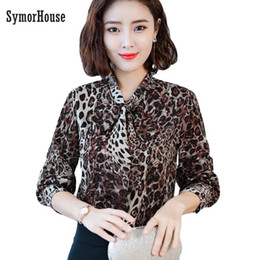 235331c48b2dc9 Office Lady Turn-down Collar Vintage Leopard Silk Shirt New 2019 Fashion  Elegant Women chiffon Blouses Shirts Hot Sale silk office shirts for sale