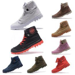 2019 zapatos del ejército militar mujer Palladium Venta caliente Palladium Pallabrouse High Army Military Tobillo hombres mujeres botas Zapatillas de lona Zapatillas de diseñador antideslizantes al aire libre Zapatos zapatos del ejército militar mujer baratos