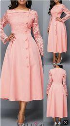 vestido da noiva da mãe do tafetá da forma Desconto Rosa do cetim manga comprida Lace Mãe de vestidos de noiva Tea Duração Elegan vestidos de noite vestidos formais 2019 vestidos de novia