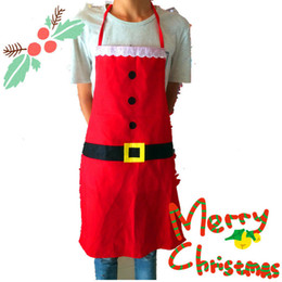 HOT Fancy Natale XMAS Kids Santa Red Grembiule Home Kitchen Cooking Decor per feste da grembiuli rossi fornitori