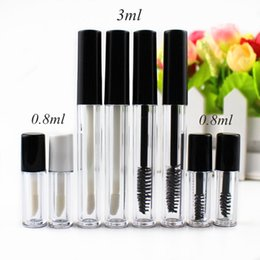 small sample lipsticks Coupons - 6pcs lot 3ml 0.8ml Plastic Lip Gloss Tube Small Lipstick Tube Mascara Tube Eyelawith Leakproof Inner Sample Cosmetic Container