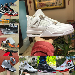 sports fire Promo Codes - New Bred Black Cat 4 4s Basketball Shoes Mens White Cement Encore Wings Fire Red Singles Retroes Sneakers IV Pure Money Trainers Sports Shoe