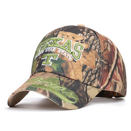 camouflage stickers Promo Codes - 2019 outdoor jungle camouflage hunting TEXAS_adjustable MEN embroidery baseball cap stickers camouflage hat fishing leaves hat