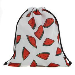 2019 рюкзаки из арбуза 39x30 см Harajuku ткань Drawstring сумки холст Каваи мультфильм фрукты арбуз мешки для хранения рюкзак 3D печатных женщин мешок подарка дешево рюкзаки из арбуза