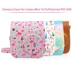 Argentina Bolsa de estuche de cámara de cuero Instax compatible con la cámara instantánea Instax Mini 7s 7c y Polaroid PIC-300 cheap polaroid camera bag Suministro