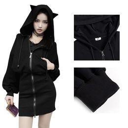 e6f4a25285e2 Fashion Cute Hoodie Cat Ears Tops Long Sleeves Waist Casual Loose Bag Hip Long  Black Color Hooded Sweatshirts 2018 Autumn