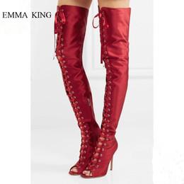 Botas rojas de estilete de punta abierta online-Botas clásicas sobre las rodillas rojas con cordones Botas atadas a la rodilla hasta el muslo Primavera otoño Punta abierta Tacones altos Zapatos de mujer