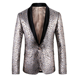 suit blazers pattern Coupons - Gold Pea Cock Pattern Suit Jacket Men Slim Fit Gold With Blalck Collar Banquet Blazer Men High Qaulity Blazer Masculina 5xl
