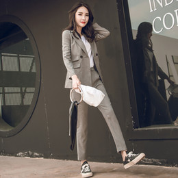 2020 корейские дамские блейзеры Women 2 Two Piece Sets Short Gray Solid Blazer + High Waist Pant Office Lady Notched Jacket Pant Suits Korean Outfits Femme дешево корейские дамские блейзеры