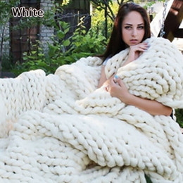 Linien fotografie online-Große warme handgestrickte Decke 100x120cm weiche Wolle dicke Linie Garn Winter klobige Sofa werfen Fotografie Requisiten