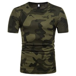 sports t shirts wholesale Promo Codes - 2019 Fashion New Summer Camouflage Mens T-shirt Outdoor Sport 2 Colors 5 Sizes