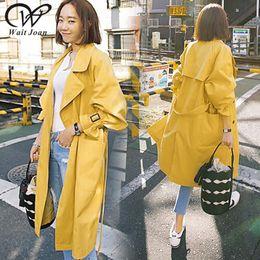 casaco trincheira amarelo Desconto Trenchcoat coreano elegante Primavera Outono Trench Coat Roupas Femininas 2019 Casacos Longos Streetwear Feminino Magro Amarelo Capas de Chuva WJ185