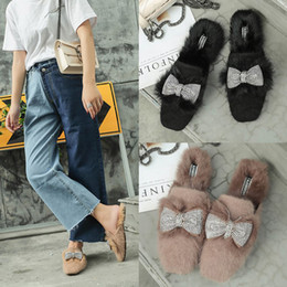 2020 кроличья шлепанцы  fur crystal bow mules shoes women square toe slippers winter outsides flock fashion slides woman flip flops bow slip on дешево кроличья шлепанцы