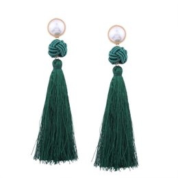 Женское винтажное богемное плетение из жёлуди Длинные серьги с украшениями (зелёные) cheap acorn jewelry от Поставщики украшения из желудей