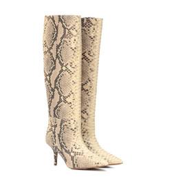Canada Effet de serpent Bottes mi-mollet Pour Automne Printemps Femmes Chaussures Meilleure Rue Mode Sexy Dames Talons Hauts Bout Pointu Femme Bottes Offre