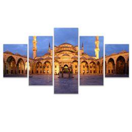 Lona de óleo islâmica on-line-5 Pcs Combinações HD mesquita islâmica edifício Emoldurado Pintura Da Lona Decoração Da Parede Impresso Pintura A óleo cartaz