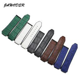 Reloj de silicona sin hebilla. online-26 * 19mm Negro Marrón Blanco Azul Verde Cuero de caucho natural Correa de silicona para la correa de la correa del reloj Big Bang Sin hebilla