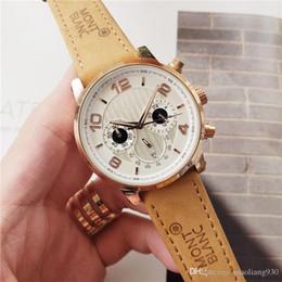 O часы онлайн-Роскошные мужские кожаные секундомеры Роскошные модные часы бренда мужские кварцевые спортивные часы отдыха мужские дизайнерские часы Бесплатная доставка o