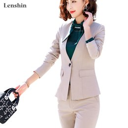 бежевый рабочий жакет Скидка Lenshin 2 piece Sets Beige Pant Suits Formal Lady Office Uniform Designs Women Elegant Business Work Wear Jacket with Trousers