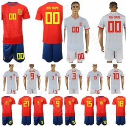 red spain uniform Coupons - 19 20 Soocer Spain 15 Sergio Ramos Garcia Jersey Men Set Red Grey 10 Marco Asensio 14 Xabi Alonso Football Shirt Kits Uniform