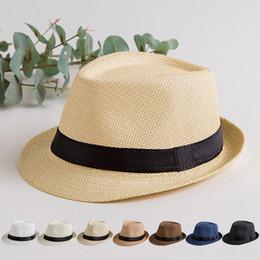 Modelli di cappello da spiaggia online-Estate visiera britannica genitore-bambino jazz protezione solare cappello da uomo cappello da spiaggia modelli adulti cappello di paglia WCW368