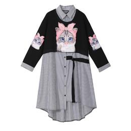 bonito vestidos de manga comprida soltos Desconto Novo 2019 Mulheres Desgaste Bonito Dos Desenhos Animados Impresso Camisa Vestido de Manga Comprida Na Altura Do Joelho Feminino Casual Solto Vestido robe femme estilo F252