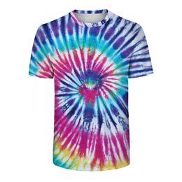Punky flojo t shirt online-Tendencia Lazo Teñido camiseta 2019 Moda suelta Streetwear Hip Hop Punk Harajuku Hombres camiseta manga corta verano colorido remolino de tela