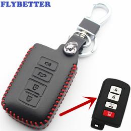 Étui à clé prado en Ligne-FLYBETTER Couverture en cuir Smart Key Case Smart Case 4Tout pour Toyota Prado / Camry / Corolla / Avalon / Rav4 Car Styling L2104