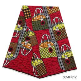 tela bordada de terciopelo rojo Rebajas Nuevos estampados de tela de cera Ankara cera de alta calidad 6 yardas tela africana para vestido de fiesta SP07GF014