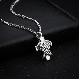 Collana di monili dell'urna online-Angolo ciondolo croce cremazione gioielli cremazione d'argento urna collana pendente commemorativo collana medaglione medaglione