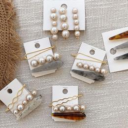 Accesorios de pelo japan online-15Set diseño Corea Japón Metal oro perla acetato de pelo irregular para las mujeres de la muchacha del banquete de boda accesorios para el cabello joyería