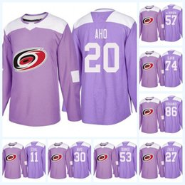 e8b8f1ae5 Youth 20 Sebastian Aho Carolina Hurricanes Purple Fight Cancer 53 Jeff  Skinner 11 Staal 74 Jaccob Slavin 86 Teuvo Teravainen Hockey Jersey