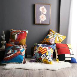 2019 almofada de malha cobre padrões Abstração geométrica Picasso Figuras Pintura a óleo Padrão de algodão toalhas bordadas de malha de lã almofada travesseiro bordado Covers Turquia almofada de malha cobre padrões barato