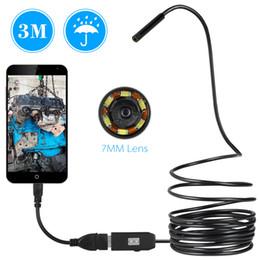 usb otg wire Скидка 7 мм USB эндоскоп камеры 1/2/3 / 5 м кабель водонепроницаемый провод змея трубки инспекции бороскоп для OTG Android телефон ПК