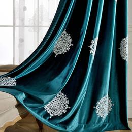 Tende scure online-tessuto della tenda impronta minimalista moderno tende cinesi italiana velluto ricami raffinati scuro sfumature verde e blu di lavorazione