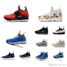330d03f88031 Cheap men lebron 15 Diamond Turf basketball shoes for sale Floral Lifestyle  Black White Blue low cut outdoor sneakers boots with box size 12