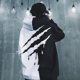 Hoodie preto grosso on-line-Black White Splice Hoodies Oversize Hip Hop estilo Swag Tyga Hoodie Outono Inverno Quente Grosso Hoodies EUA Tamanho XS-XL