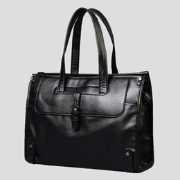 Koreanische Neue Schulter Umhängetasche Männer Leder Laptop Schwarz Vintage Aktentaschen Für Männer Luxus Herren Business Handtasche Freizeit von Fabrikanten