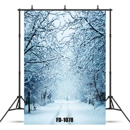 Snowy Woods Walkway Vinyl Photographic Background for Photograph Accessories Baby Shower Children Cloth Backdrop Photo Studio от