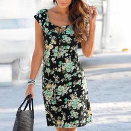 vestido de praia floral de joelho curto Desconto Mulheres Na Altura Do Joelho Vestido Elegante Amarrado V Neck Manga Curta Floral Print Shift Vestido De Verão Vestido De Praia # BF