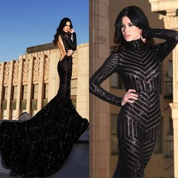 6600a8408a Chinese Blingbing Black Sequin Mermaid Long Sleeves Prom Dreses with High  Neck Sexy Backless Sparkling Formal