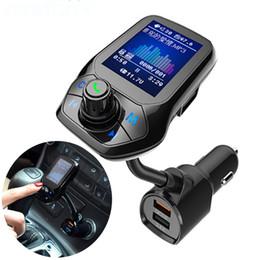 "Conjunto de manos libres bluetooth online-Bluetooth Car Kit Manos libres 1.8 ""TFT Color Display Set 3 Puerto USB QC3.0 Carga rápida Transmisor FM Reproductor de música MP3 T43"