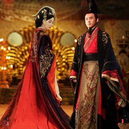 2019 abiti da sposa regina rossa Asian Emperor queen Royal Palace abito da sposa Robe dress Cinese antico matrimonio Hanfu Long Costume Nero Red bride groom Outfit sconti abiti da sposa regina rossa