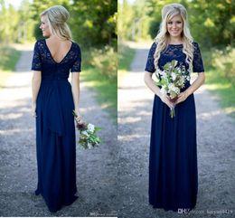 vestidos de dama de honor de gasa azul marino largo Rebajas País Vestidos de dama de honor Largos para bodas Azul marino Gasa Manga corta Ilusión Encaje Granos Piso Longitud Vestidos de honor 273