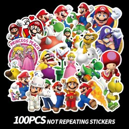 Laptop b online-100 unids / set Anime Game Mario Cartoon Graffiti Sticker Impermeable Maleta DIY Laptop Guitarra Monopatín de Juguete Adorables Pegatinas B