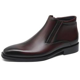 Argentina Moda Negro / Tan Botines Hombre Zapatos de invierno Botas de cuero genuino Botas de vestir para hombre cheap male black dress boots Suministro