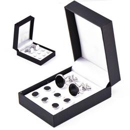 Abotoadura + Botão de colarinho preto branco Abotoaduras abotoaduras embaladas em caixa Abotoaduras botão francês para o Dia dos Pais Presente de Natal supplier white cuff box de Fornecedores de caixa de punho branco