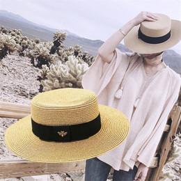 2019 chapeaux de paille réglables dames Summer Beach Bee Charme Femmes Chapeaux De Paille Mode Réglable En Vrac Large Plat Filles Chapeau High Street Marque Lady Large Bord Chapeaux promotion chapeaux de paille réglables dames