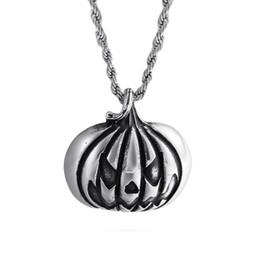 Pingente de abóbora de ouro on-line-Aço inoxidável Halloween Pumpkin Pingente 316L banhado a ouro New Designer Colar engraçado Jóias Homens Mulheres Pingentes