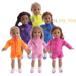 cloth for style Coupons - Long Sleeved Sport Wear Cloth Short Pants Sport Suit for 18 inch American Girl Doll Cloth Accessory